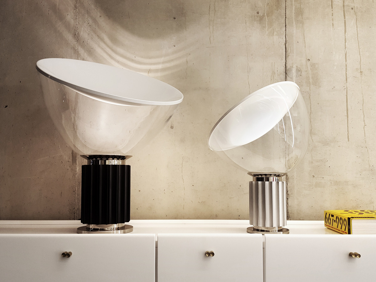Flos-Taccia-Small-LED-Table-Lamp-Anodised-Silver-with-Taccia-Large-insitu
