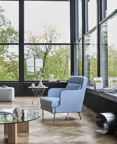 Funen chair with high back 70x83 cm Flux light blue ENVIR 1 with Puzz table Bench footstool Spider table 0241